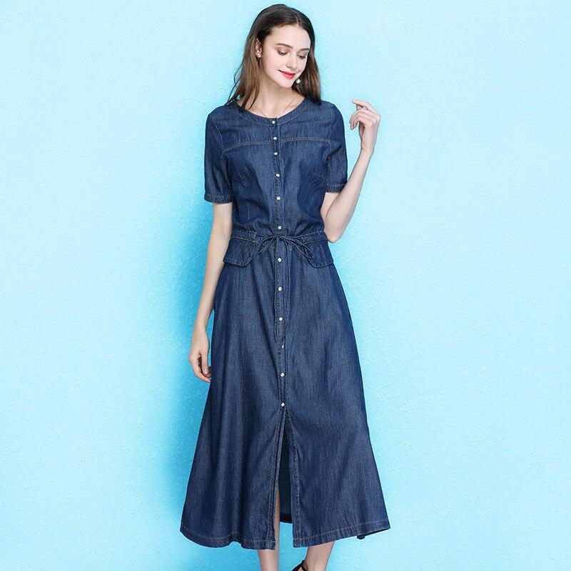 Women 39 s fashion dress summer large size denim dress short sleeve long temperament drawstring waist a line dress women NW19B6115 in Dresses from Women 39 s Clothing