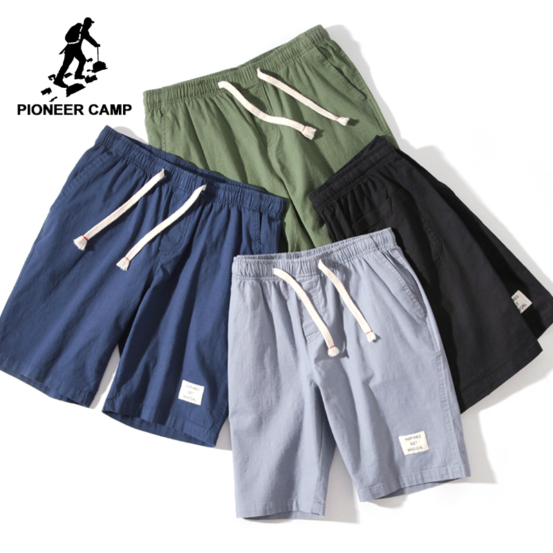 Pioneer Camp Shorts Men Beach Summer Solid Casual Brand-clothing Elastic Black Blue Pioner Cotton Shorts Male  ADK803145