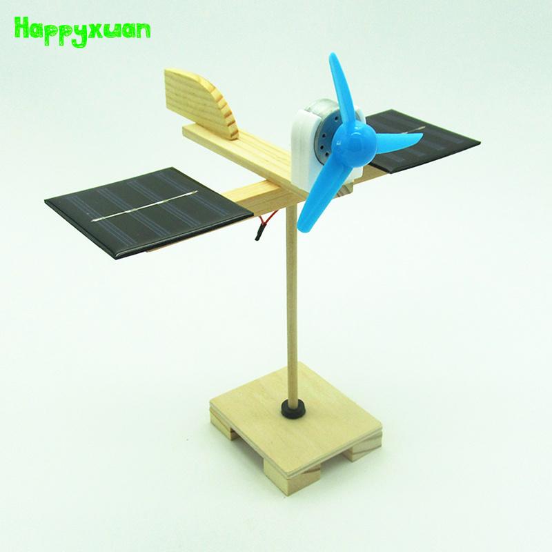 Happyxuan DIY Solar Fan Model Building Material Kits Hybrid Drive Science Experiment Discovery Toys Creative Educational diy solar power generator dc motor fan solar toy for science education model