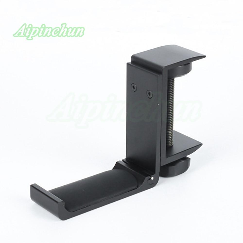Universal Aluminium Alloy Headphone Holder Headset Bracket Hanger Metal Wall Clamp Hook Foldable Earphone Stand Desktop Mount