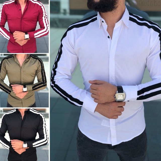 Plain Formal Business Long Sleeve Slim Fit Shirt 1