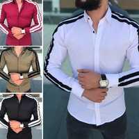 Plain Männer Formale Shirts Business Kleid Hochzeit Langarm Slim Fit Top Patchwork HEIßER