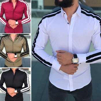 Plaine hommes chemises formelles robe d'affaires de mariage à manches longues Slim Fit Top Patchwork chaud