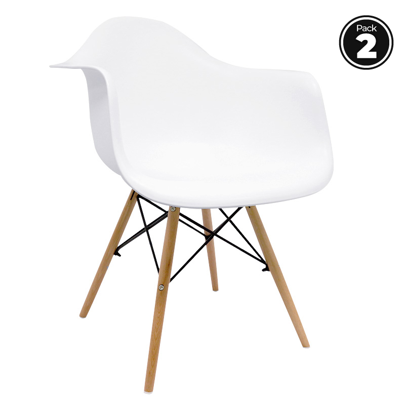 Excellent Us 87 93 Pack 2 Sillas De Dining Room Dau White Scandinavian Style Wooden Seat Polypropylene Capacitor In Living Room Chairs From Furniture On Theyellowbook Wood Chair Design Ideas Theyellowbookinfo