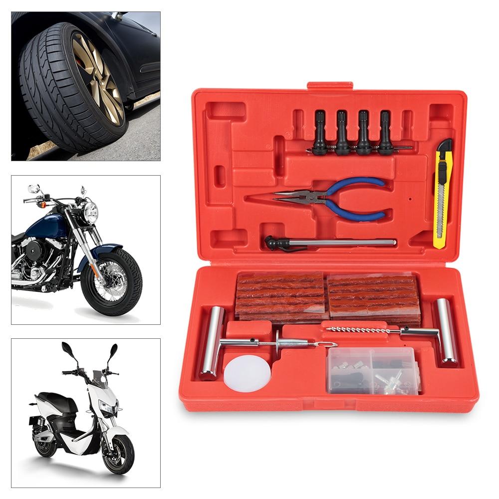 91 pièces professionnel Auto voiture pneu Kit de réparation voiture vélo Auto Tubeless pneu crevaison bouchon réparation outil voiture accessoires