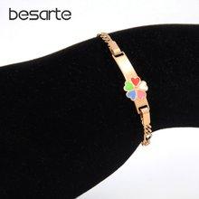 Красочные детские браслеты в форме сердца золотой браслет для