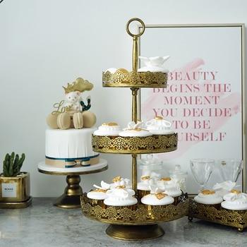 Golden Cake WROUGHT IRON Three Layers Cake Dish Wedding Prop Originality Wedding Arts Black Wipe Gold Tray
