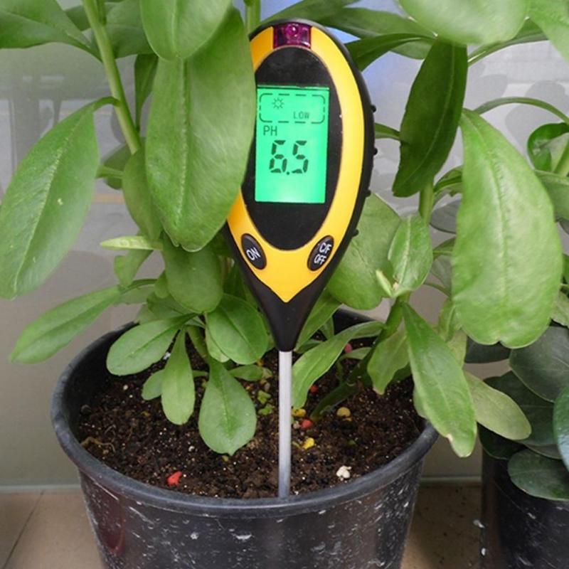New 4 In1 Digital PH Meters LCD Temperature Sunlight PH Garden Soil Moisture Tester for Plants and awns Gauge soil Meter