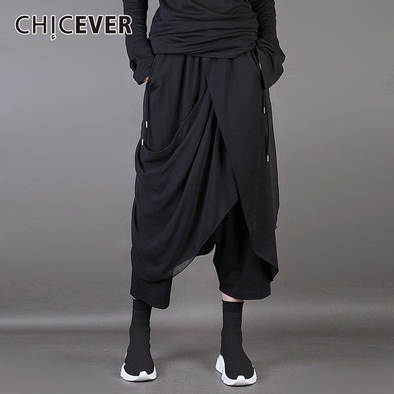 CHICEVER Spring Irregular Trousers For Women Cross Pants Patchwork Chiffon Black Loose big Size Female Pants Fashion Korean New