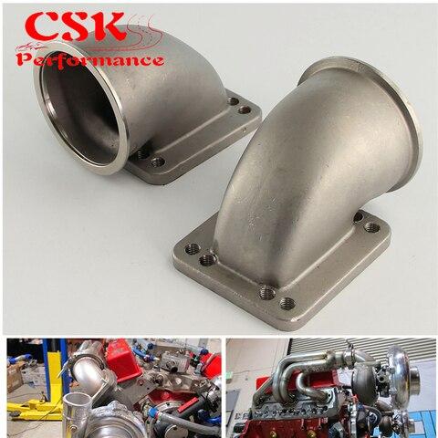 2 pces 76mm 3 0 vband 90 graus fundido turbo cotovelo adaptador flange para t3