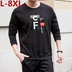 2019 Новый 8XL 7XL 6XL Плюс Размер Новая Осенняя футболка с длинным рукавом мужские пуловеры с круглым вырезом с буквенным принтом рубашка хлопок ...
