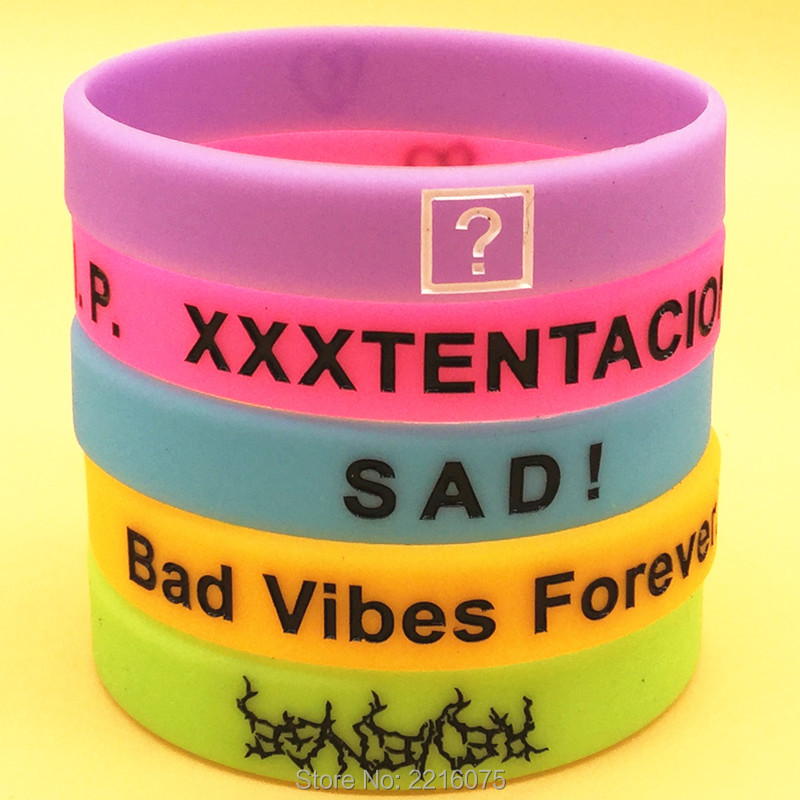 1pcs Xxxtentacion Rapper Star Memory Mourn Sad Look At Me Bad Vibes Forever Motivational Silicone Music Band Wristband Bracelet