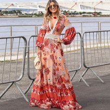 Bohoartist Women Maxi Dresses Casual Boho Sexy Pink Party V Neck Beach Lantern Sleeve Print Floral Female Plus Size Long Dress