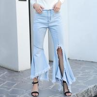 MISS M Fashion Cool Asymmetric Elastic Horn Jeans Zipper Low Waist Tassel Ripped Jeans Woman Denim Wide Leg Pants Trousers Lady