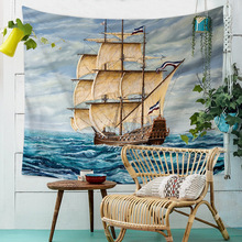 Wall Hanging Tapestry Mandala Ocean Ship Landscape Wall Cloth Tapestries Moon Psychedelic Tapestry Hanging Mural Carpet Throw все цены