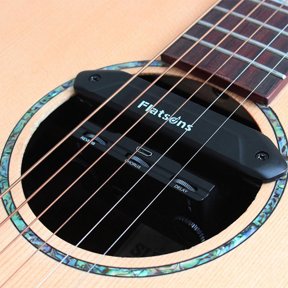 FLATSONS Многофункциональный акустический гитарный резонансный усилитель звукоснимателя с регулятором громкости микрофона задержка ревербе...