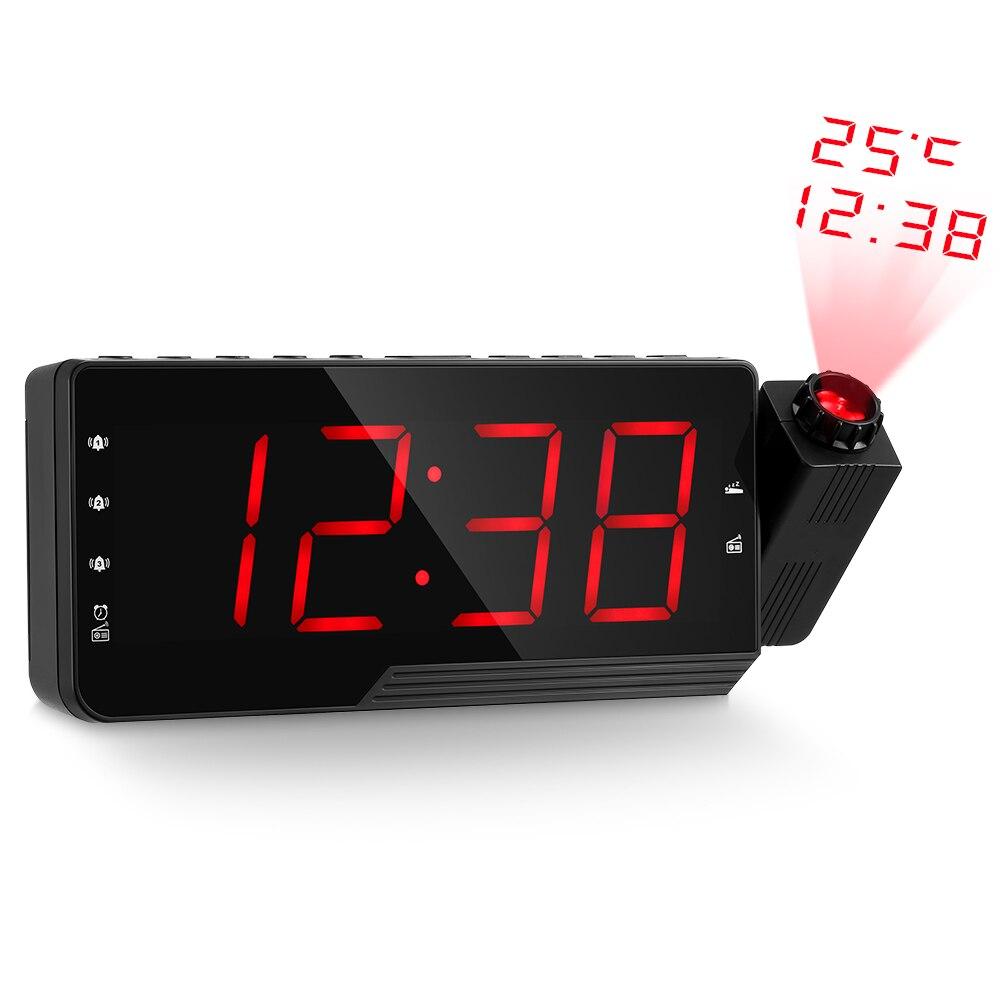 Willensstark Digitale Radio Wecker Projektion Snooze Timer Temperatur Led-anzeige Usb Ladekabel 110 Grad Tisch Wand Fm Radio Cloc HüBsch Und Bunt Unterhaltungselektronik