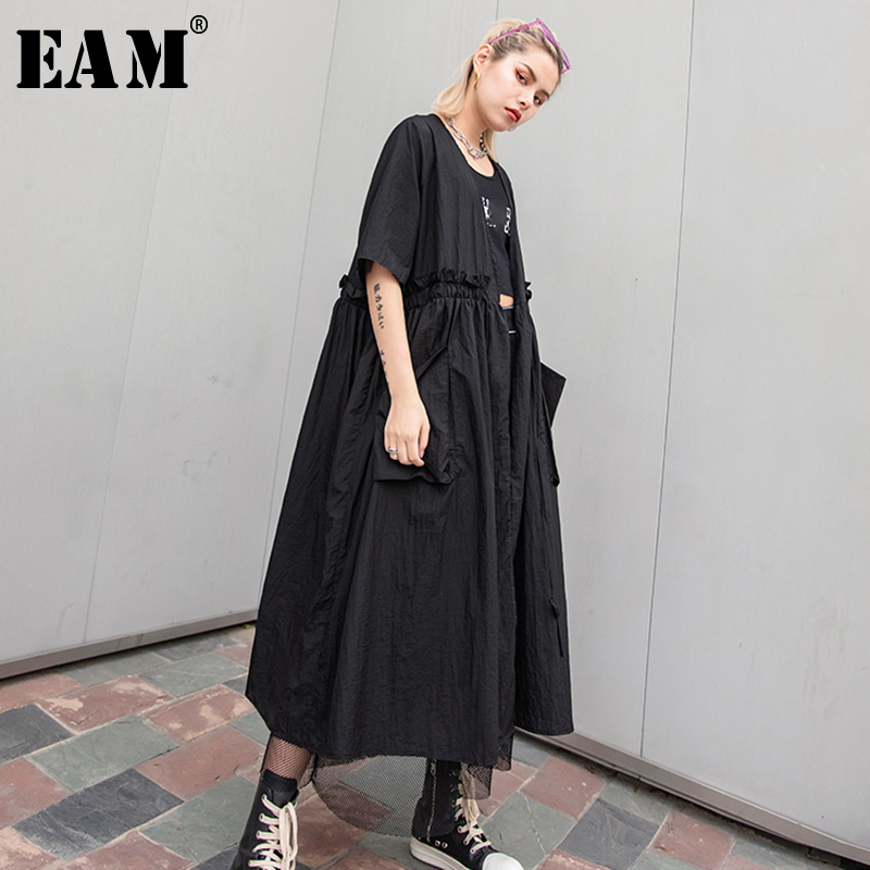 [EAM] 2019 New Spring Summer V-collar Long Sleeve Black Loose Ruffles Split Joint Big Size Windbreaker Women   Trench   Fashion JT18