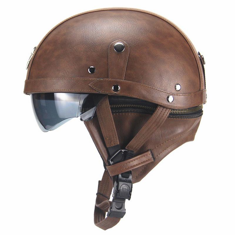 Harley Motorcycle Helmet Retro Helmet Half-helmet Summer Pedal Motorcycle Cruiser Leather Helmet Four Seasons Men And Women