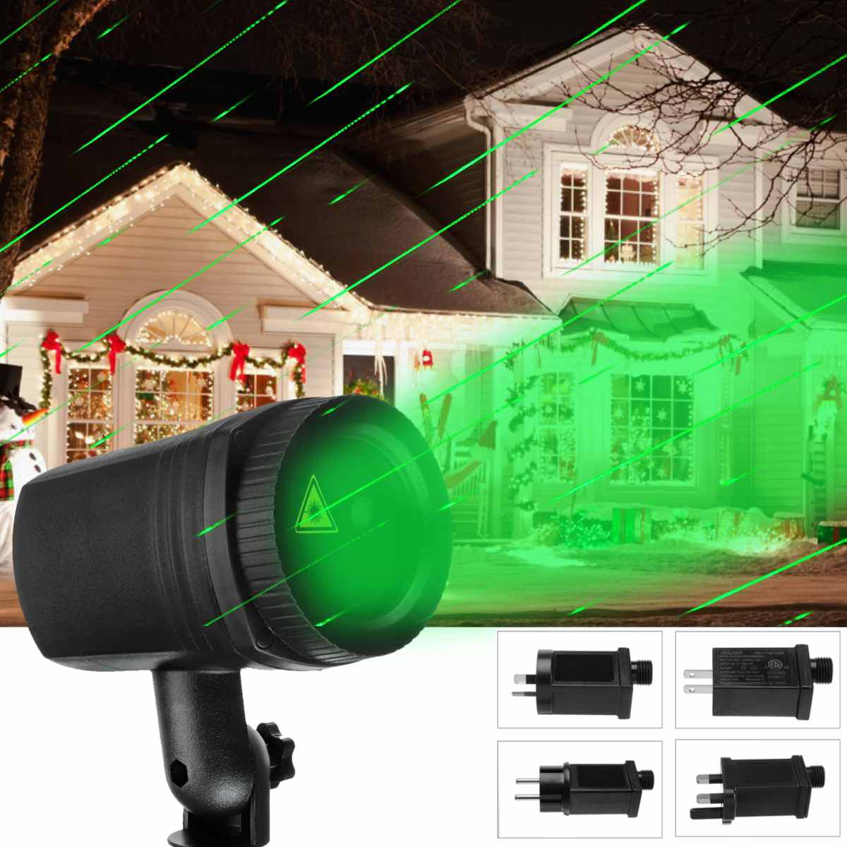 Christmas Ac 100-240v Meteor Shower Projector Laser Led Light Lamp Lawn Garden Decor Directional Projection Waterproof Durable