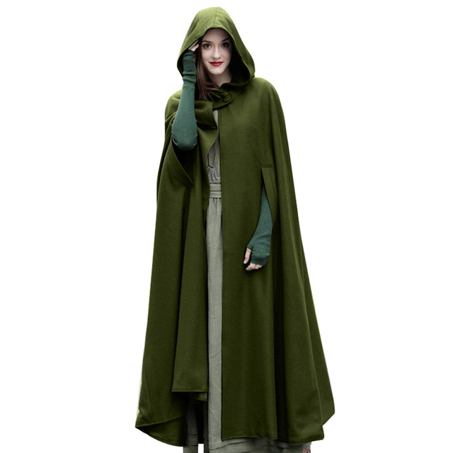 Casual Women Winter Vintage Hooded Cloak Sleeveless Button Closure Thin Hooded  Long Cape Costume Halloween Cosplay Outerwear b14ae3c0e