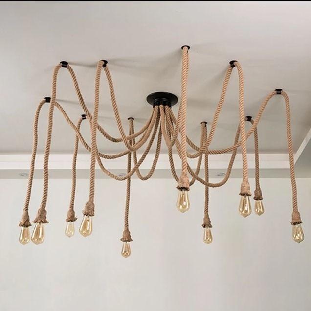 Nordic Vintage Hemp Rope Chandelier Antique Classic Adjustable Diy Spider Lamp Light Ceiling Retro Edison Bulb Pendant Lamp Home