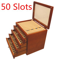 Wood Pen Box 5 Layer Large capacity Wooden Box Fountain Pen Pencil Display Storage Wood Case 50 Pens Holders