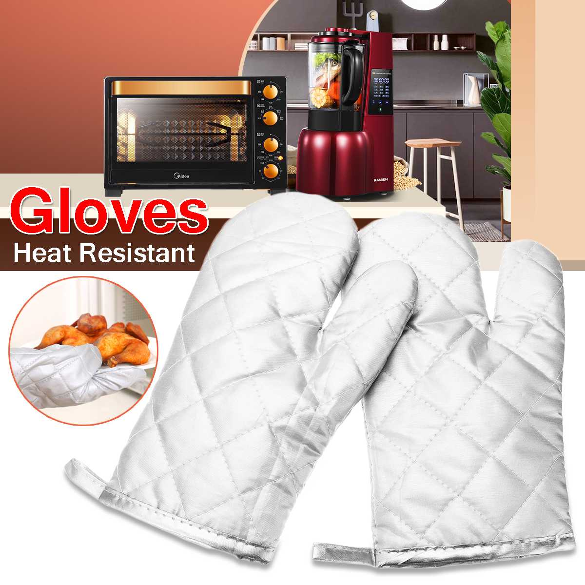 ■ BBQ//Oven Mitts Heat Resistant Up to 800 Degree C  Blue Spider Web Pattern
