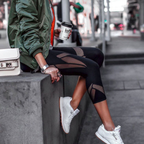 2019 Women High Waist Breathable Soft Leggings Running Loose Slim Stretch 3/4 Pants New