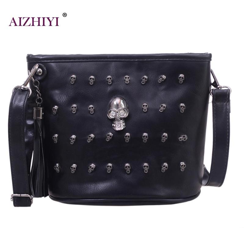 Diseño de cráneo, Bolsas de mensajero para mujeres, bolsos de hombro bolso de embrague chica negro PU bolso de cuero Bolsas bolsos femenina