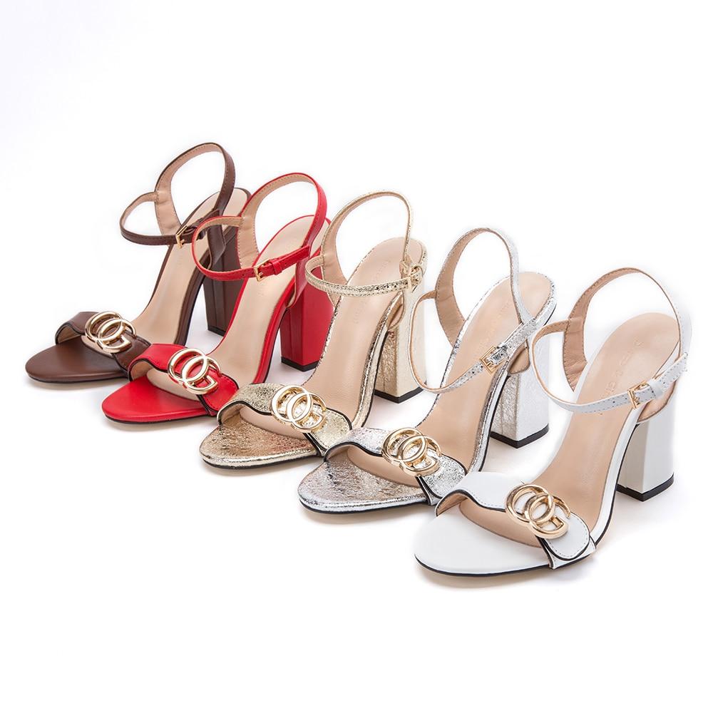 Hot summer OG femmes de sandales avec talons Scintillant chaussures femme argent chaussures femme épais à talons hauts femmes sandales d'or pour dame