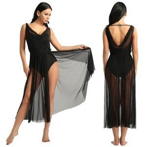 Image 3 - TiaoBug Women Adult Competition Stage Lyrical Dance Costume Mesh Ballet Tutu Dress Built In Shelf Bra Leotard Gymnastics Leotard