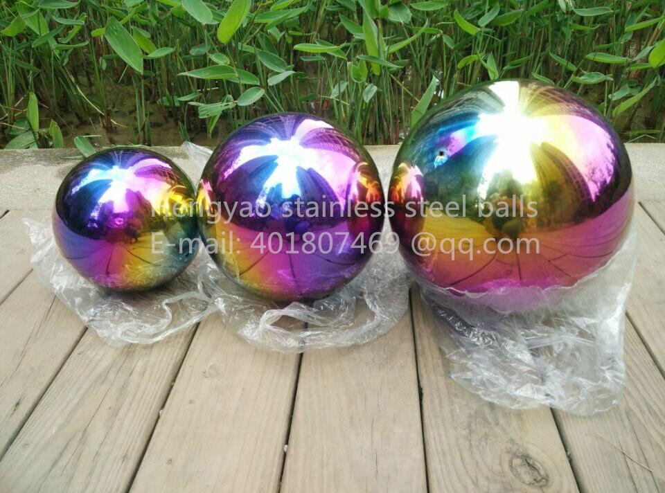 Boule multicolore Dia 400mm 40 cm en acier inoxydable boule creuse sans couture sphère fine maison cour piscine décoration ornements