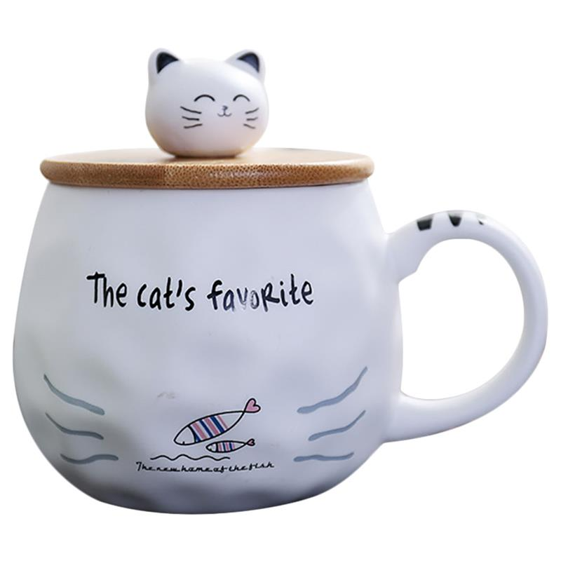 Environmental Protection Cute Cartoon Ceramic Mug With Lid Spoon <font><b>Cat</b></font> Pattern Coffee <font><b>Cup</b></font> Office Household <font><b>Cup</b></font> Drinking Utensils image