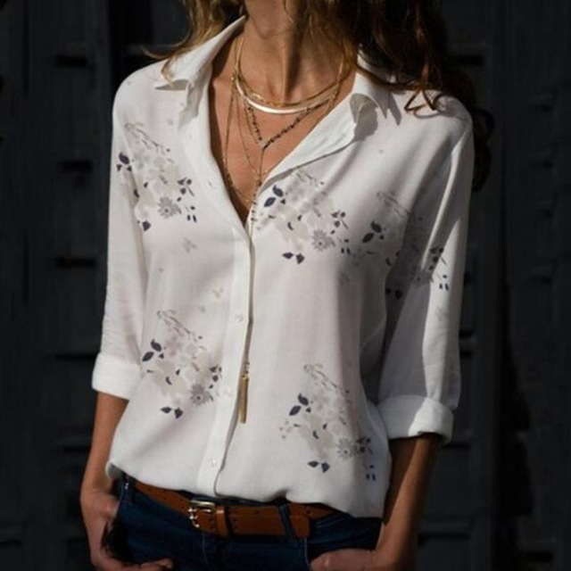 Autumn Elegant Long Sleeve Print V-Neck Chiffon Blouse 3