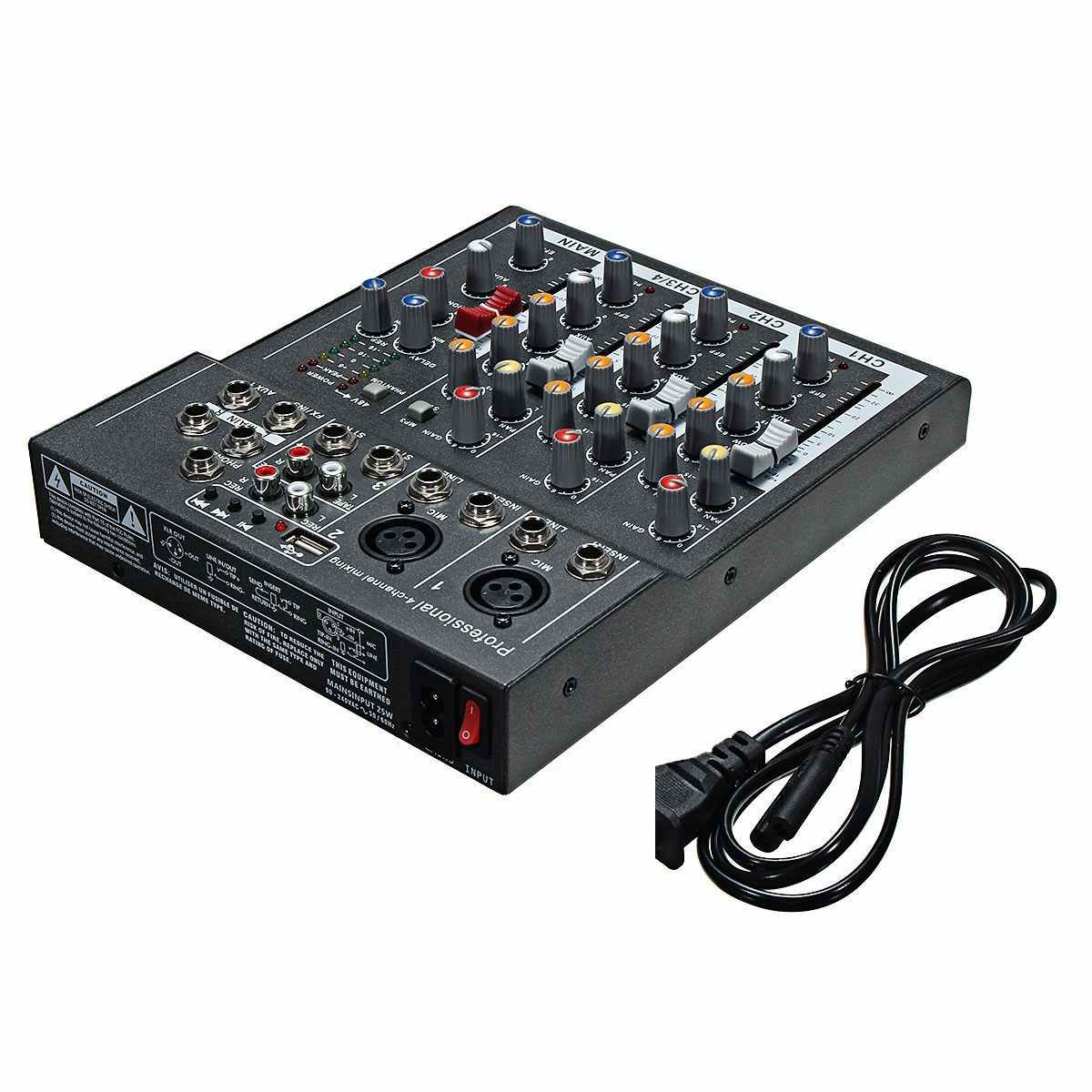 ミニポータブルオーディオミキサーusb djサウンドミキシングコンソールMP3 ジャック 4 チャンネルカラオケ 48vアンプカラオケktv一致パーティー
