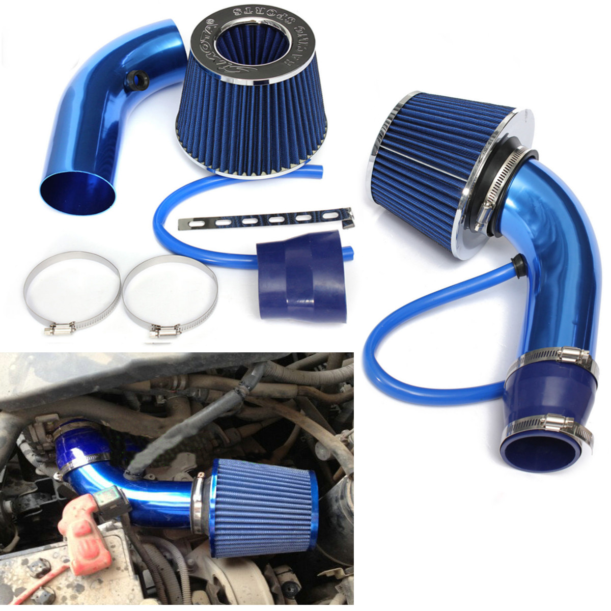 UNIVERSAL PERFORMANCE CAR AIR FILTER HIGH FLOW OPEN CONE INDUCTION INTAKE SSY