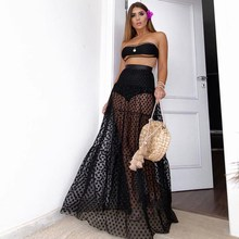 Women Beach Summer Mesh Polka Dot Skirt Hight Waist Maxi White Lace Transparent Long