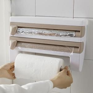 Image 4 - Kitchen Organizer Cling Film Sauce Bottle Storage Rack Paper Towel Holder Rack Wall Roll Paper for Kitchen Supplies