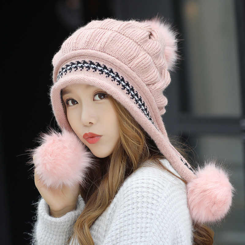 3bf26edf6a9 Fashion Women s Winter Hats Fur Hats Knitting Fox Fur Hat Pom Poms Ball Beanie  Caps Thick