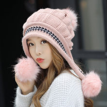 Fashion Women's Winter Hats Fur Hats Knitting Fox Fur Hat Pom Poms Ball Beanie Caps Thick Skullies Female Cap Gorros with Gloves(China)
