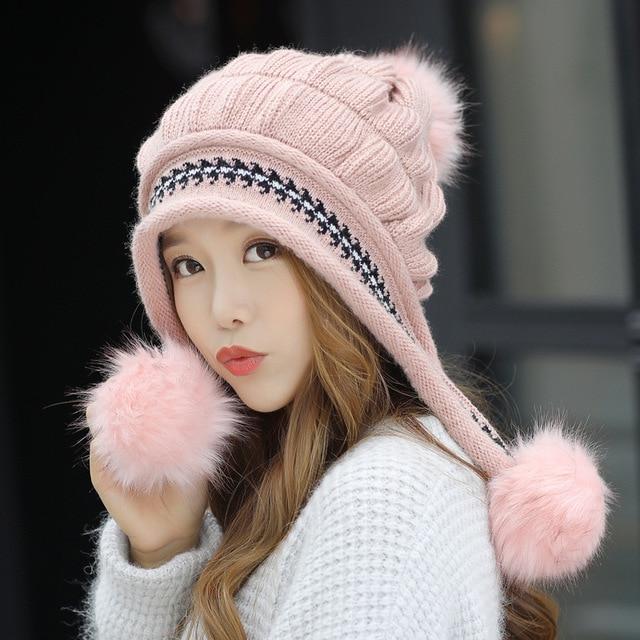 Fashion Women s Winter Hats Fur Hats Knitting Fox Fur Hat Pom Poms Ball  Beanie Caps Thick Skullies Female Cap Gorros with Gloves f14c54de5a1b