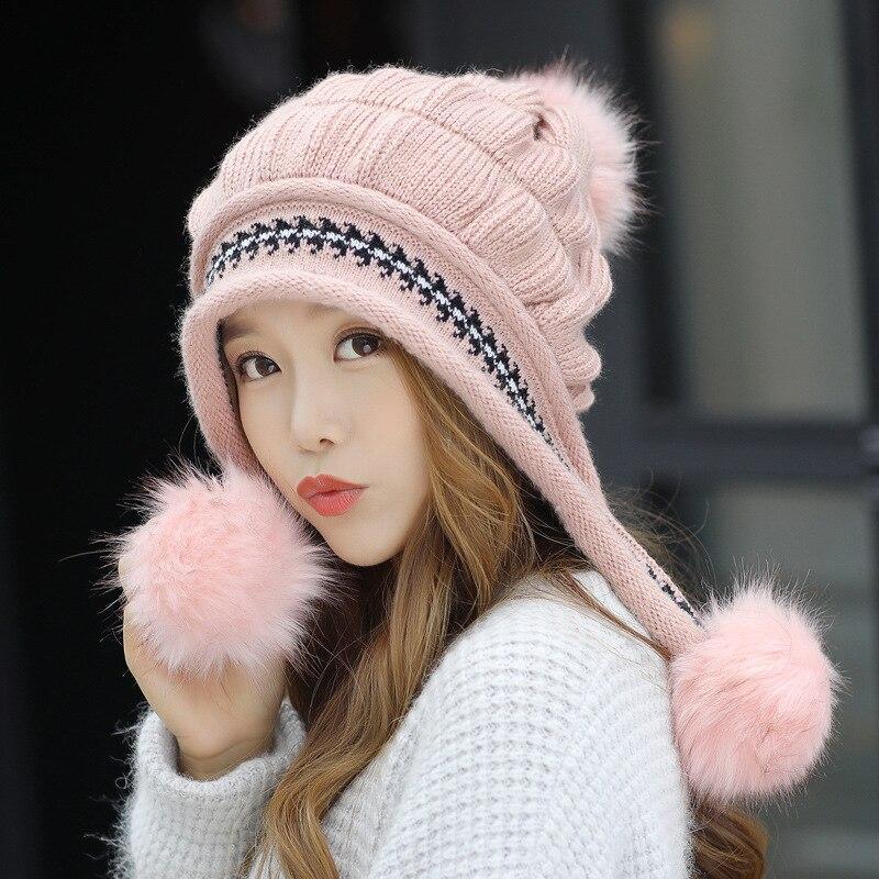 Mode frauen Winter Hüte Pelz Hüte Stricken Fuchs Pelz Hut Pom Poms Ball Beanie Caps Dicken Skullies Weibliche Kappe gorros mit Handschuhe