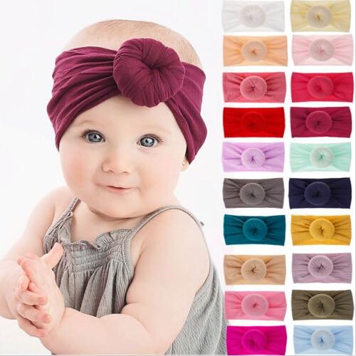 2019 Princess Headband Solid Color Girl Baby Bow Hairband Headwear Stretch Turban Knot Head Wrap Infant FashIon New Headband