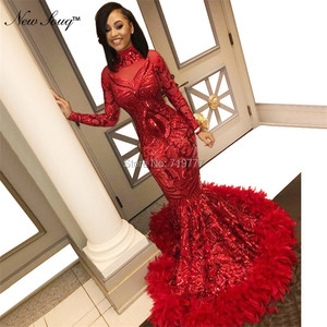 Image 3 - Luxury Feather Red Sequin Evening Dress Long Sleeve Islamic Dubai Kaftan African Prom Dresses Vestido De Festa Muslim Party Gown