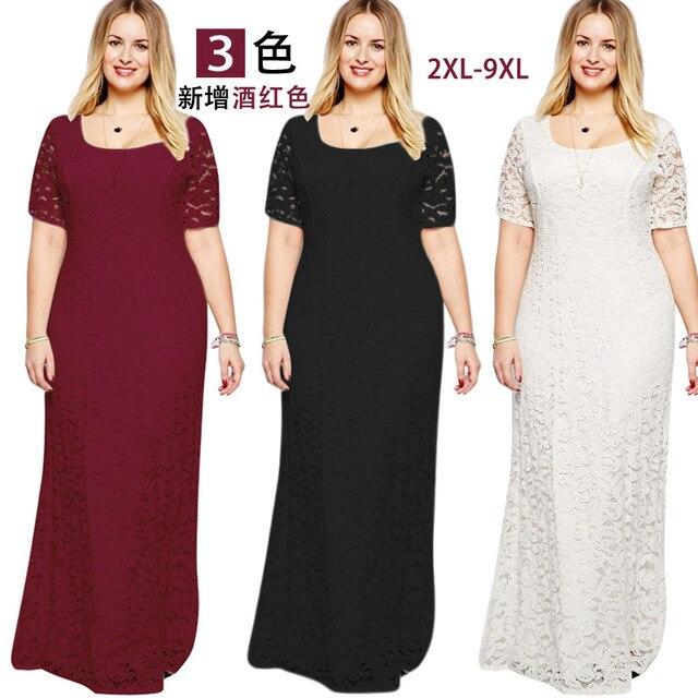 301ec408a3 summer Women Fat MM Plus Size Women's clothing Short sleeve Lace Long  evening maxi Dress Slim Party Dresses vestidos 8XL 9XL