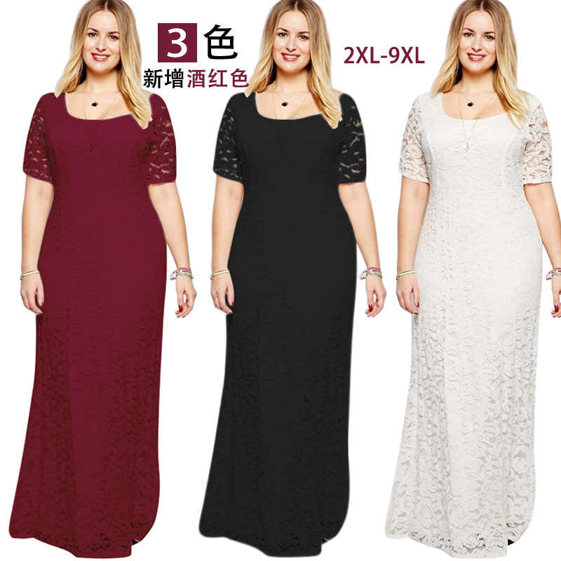 703a9178e81b7 Detail Feedback Questions about summer Women Fat MM Plus Size Women s  clothing Short sleeve Lace Long evening maxi Dress Slim Party Dresses  vestidos 8XL 9XL ...