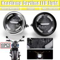 1Pc Black/Silver Universal Motorcycle Headlamp Day Time Light LED Distance Lamp and Lower Beam Refit Vintage Mocycle Front Light