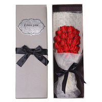 2019 New Valentine's Day Romantic Soap Flowers Gift Box Bouquet Realistic Fake Bouquet Preserved Roses For Women