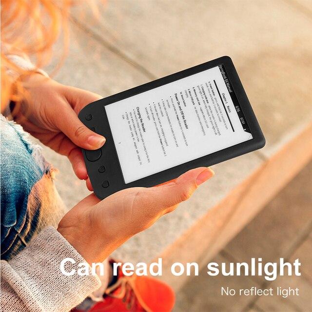 """6 """"E-Book Reader 800*600 de resolución E-Pantalla de tinta resplandor-PU cubierta de memoria de 8 GB e-reader frontal incorporada luz 6 pulgadas E-book"""